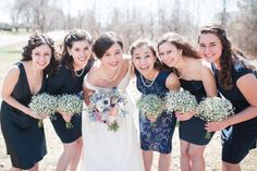 Navy Blue Bridesmaid Dresses // Baby's Breath Bouquets // alison dunn photography