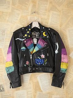 Hand painted leather jacket custom painted vest hand painted leather vest painted clothing punk vest custom painted vest CynRnvy