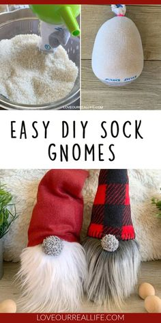 Learn to how make your own DIY Christmas gnomes. Tutorial for no sew sock version as well as DIY gnomes using simple sewing. Christmas Gnome, Christmas Projects, Christmas Sock, Christmas Sewing, Christmas Makes, Theme Noel, Homemade Christmas, Holiday Fun, Diy Holiday Gifts