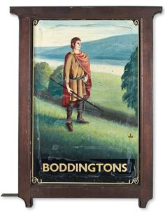 """The sign depicts a figure from Medieval days. A traveler in the early Middle Ages could obtain overnight accommodation in monasteries, but later a demand for Inns grew with the popularity of pilgrimages and travel. Boddingtons Bitter (""""Boddies"""") is a brand of bitter ale originally brewed in Manchester, England."""