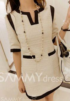 SAMMY DRESS Women's Fashion Clothing | Elegant Scoop Neck Color Block Pocket Embellished 1/2 Sleeve Women's Dress |  Just USD $ 12.19 | http://shrsl.com/?~65pr