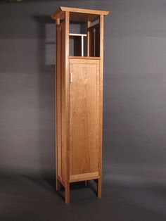 Tall, Narrow Armoire Cabinet: In Cherry- Handmade Custom Wood Furniture, Entry…