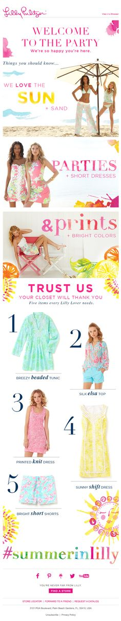Lily Pulitzer | welcome | WelcomeEmails | emailmarketing | email | newsletter | welcome newsletter | welcome email | WelcomeEmail | relationship emails | emailDesign