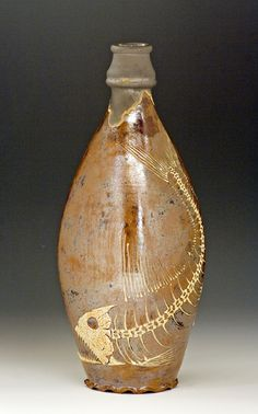 Fossil Fish Pottery Flask, Bruce Gholson, Seagrove, North Carolina, Bulldog Pottery