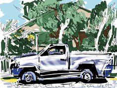 Craig Longmuir, iPad drawing, 'Whitehead Street, Key West.' En plein air