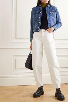 Indigo Vivian denim jacket | AGOLDE | NET-A-PORTER Victoria Beckham, Azul Indigo, Harem Pants, Khaki Pants, Jeans Bleu, Coton Biologique, Personal Shopping, Who What Wear, Pull