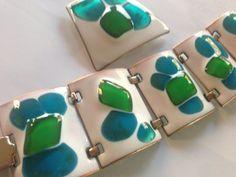 Modernist Kay Denning Vibrant Blue Green Fused Glass Enamel Demi Paure Bracelet and Brooch Set Signed K Denning