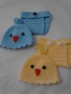 Easter Chick diaper cover sets! Crochet Baby Cocoon, Crochet Baby Clothes, Baby Kids Clothes, Love Crochet, Crochet For Kids, Crochet Ideas, Crochet Hats, Knitting Loom Socks, Baby Knitting