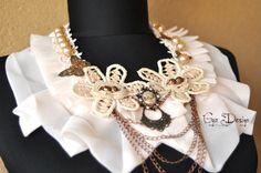 Vintage silk Collar silk Jabot bib lace necklace by GyaDesign
