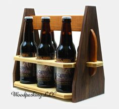 Cerveza 6 Pack botella Caddy Custom portador madera bolsa hecha con personalizadas tallado / grabado para cerveza artesanal hecho a mano en modificado para requisitos particulares de Michigan