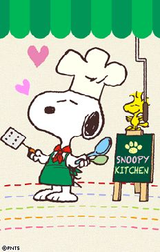 Snoopy Dressed As a Chef With Woodstock Standing on Top of the Sign That Says Snoopy's Kitchen Snoopy Cartoon, Snoopy Comics, Peanuts Cartoon, Peanuts Snoopy, Snoopy Love, Snoopy And Woodstock, Snoopy Videos, Snoopy Pictures, Snoopy Quotes
