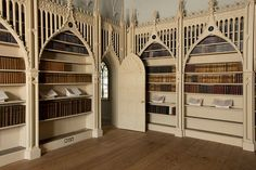 A view of the library, which was the first Gothic-style book room in England; the pointed arches were inspired by an illustration of woodwork at Old St. Paul's Cathedral in London.
