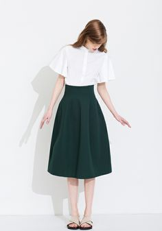 Le Ciel Bleu Ruffle sleeve shirt and cotton linen flared skirt