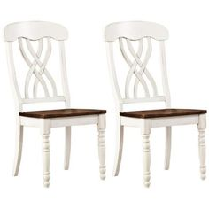 HomeBelle Set of 2 Antique White Farmhouse Dining Chairs -