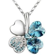 Women Vintage Fashion Jewelry Heart Crystal from Swarovski Four Leaf Clover Necklace Pendants White Gold Plated 2016 Trendy 201 Heart Pendant Necklace, Crystal Necklace, Pendant Jewelry, Jewelry Sets, Jewelry Necklaces, Jewelry Watches, Necklace Chain, Swan Necklace, Heart Necklaces