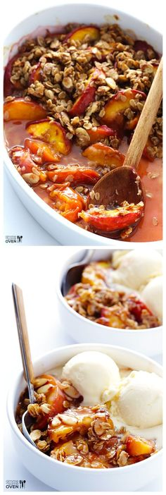 Ginger Peach Crumble -- made with a sweet fresh peach filling and topped with a crispy oatmeal topping | gimmesomeoven.com #dessert