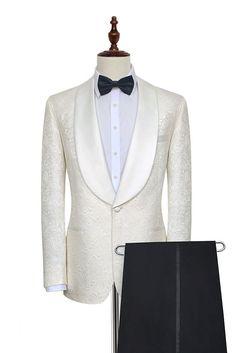 New Arrival Groomsmen Ivory Groom Tuxedos Shawl Brown Lapel Men Suits Wedding/Prom Best Man Blazer ( Jacket+Pants+Tie ) New Mens Suits, Dress Suits For Men, Mens Suit Vest, Mens Fashion Suits, Men Dress, Fashion Vest, Men's Suits, Fashion Boots, Womens Fashion