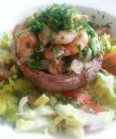 Recept gevulde portobello met garnalen - Past helemaal in een zeer gezonde levensstijl.