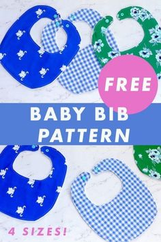 Baby Bib FREE sewing pattern (4 sizes). Available in four sizes, NOW is your chance to learn how to sew this quick and easy baby bib for your little angel, or it's a great chance to make one or more as gifts for the next baby shower you attend. Diy Baby Bibs Pattern, Crochet Baby Bibs, Baby Bibs Patterns, Bib Pattern, Sewing Patterns For Kids, Baby Knitting, Sewing Ideas, Sewing Tips, Knitting Patterns