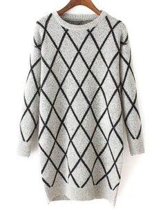 AdoreWe - Zaful Round Neck Long Sleeves Argyle Pattern Sweater - AdoreWe.com