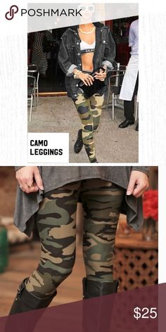 ⭐️⭐️⭐️⭐️⭐️CAMO LEGGINGS  infinityraine.com These are the edgiest of them all! Camo leggings are a staple in your fall wardrobe. Pairs well with cool basics and leather boots. RiRi sure loves hers!  Materials are 92% polyester, 8% spandex. So unbelievably soft!  Infinity Raine is a misses clothing line that features a variety in fashion. From feminine basics with a fresh spin to them, to trendy and timeless, they have you covered. You are sure to find some fun new pieces to style with…