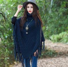 2016 Fashion Autumn Women Sweater Cape Fur Turtleneck Tassels Knitted Elegant Woman Shawl Pullovers Casual women Coat Clothing