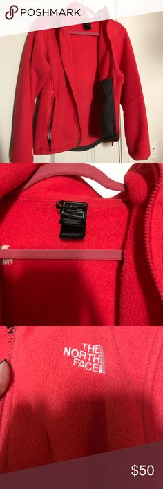 """Pink polartec north face jacket My camera is picking up a more red color than this jacket is. It's a muted """"hot pink"""" one of my favorite fleeces i just never wear it anymore North Face Jackets & Coats Utility Jackets"""