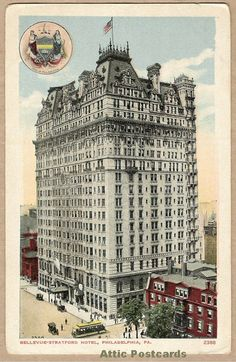 Vintage postcard of the Bellevue-Stratford hotel on Broad St.and Walnut Street in Philadelphia, PA. Has a 'Seal of Philadelphia' on the front.
