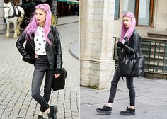Petit Sésame Crop Top, H&M Skinny High Waist, Avant Première Faux Leather Vest, Pretty Badly Choker, Underground Creepers, Zara Bag