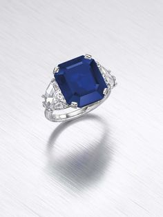 This deep blue octagonal-cut Kashmir #sapphire of 11.88 carats, set into a #diamond #ring, is among the 300 lots at @christiesinc Magnificent Jewels auction in New York. #christies #sapphirering  See more at www.thejewelleryeditor.com