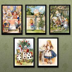 Alice in Wonderland 5 Prints by Sir John Tenniel Set 1 from Retro Images John Tenniel, Alice In Wonderland Print, Adventures In Wonderland, Illustrations, Illustration Art, Unique Poster, Retro Images, Through The Looking Glass, Old Art