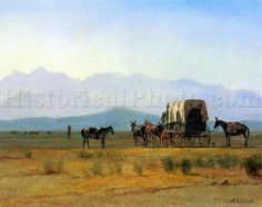 """The Stagecoach in the Rockies"" is a scene straight from the western frontier, showing a stagecoach driving across the prairie toward the faraway Rocky Mountain"