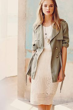 Anthropologie EU Sera Linen Trench. The perfect lightweight layer for summer, this linen trench by Sanctuary landed on our stylists' radar because of its flattering, waist-defining drawstring. A timeless and versatile addition to wardrobes, and an ideal transitional piece.