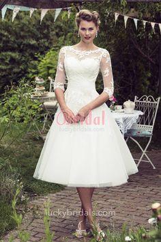 Simple Tea Length Wedding Dress - Dresses for Guest at Wedding Check more at http://svesty.com/simple-tea-length-wedding-dress/