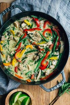 Thai Green Curry Chicken ~ Skip ordering take-out! This weeknight curry is made with an easy homemade paste, coconut milk, chicken, bell peppers, and green beans.  ~ SimplyRecipes.com
