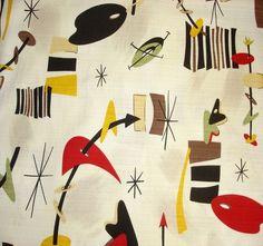 R.Kaufman BOOMERANG BEAT Barkcloth Atomic Art Fabric Cream Vintage Retro 50x47cm | eBay