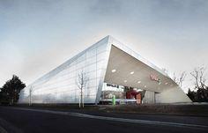 Erstaunlicher Designtrend in der Architektur: einen Supermarkt in Graz, Österreich