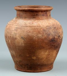 A VERY OLD CARVED POTTERY JAR Han Dynasty, H:7.00 in