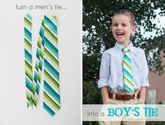 Turn a Men's tie into a Boy's tie: why buy when you can raid your husband's tie and make them from those?  www.makeit-loveit.com
