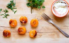 Simple Roasted Apricots with honey mascarpone top with blackberry or other berry