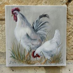 Hen and rooster in oil painting: Paintings by atelier-jeany-bouton Source by mtcomtet Rooster Painting, Rooster Art, Chicken Painting, Chicken Art, Farm Paintings, Animal Paintings, Painting & Drawing, Watercolor Paintings, Animal Art Projects