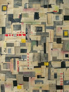 "heartlandart ~ ""Yellow Square"" vintage paper, paint, pencil, marker on 9 x 12 paper"