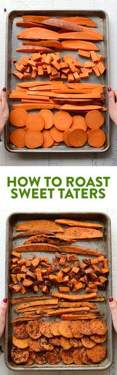 Looking for a root vegetable to add to your meal prep or buddha bowl? Here's an easy tutorial on how to roast sweet potatoes! All clean eating ingredients are used for this healthy sweet potato recipe. Healthy Recipes, Healthy Meal Prep, Veggie Recipes, Healthy Snacks, Vegetarian Recipes, Healthy Eating, Cooking Recipes, Easy Lunch Meal Prep, Meal Prep Recipes