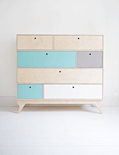 KLOPS. our scandinavian, plywood chest of drawers / bureau. designed by Wood Republic / #interior #design #scandinavian #wood #natural #plywood #colored #fronts #drawers #cabinet #chestofdrawers #bureau #vintage #70s #60s #polish #danish #modern #minimalist #minimal #customized #personalized #stylized #solid #birch #handmade #loft #kids #room #kidsroom #child #children #scandi