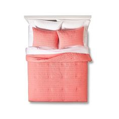 Room Essentials Textured Solid Comforter Set - Coral ($40) ❤ liked on Polyvore featuring home, bed & bath, bedding, comforters, coral, coral comforter set, white ruffle comforter, white ruffle bedding, quilted comforters and king comforter