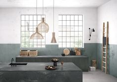 urban industrial kitchen with sage green walls and concrete effect quartz worktops from caeserstone Interior Modern, Kitchen Interior, Interior Design, Grey Kitchens, Cool Kitchens, Home Design, 2017 Design, Design Ideas, Olive Green Kitchen