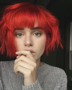 Cut fetish hair light red