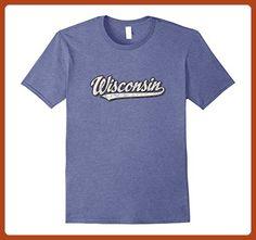 Mens Retro Wisconsin T Shirt Vintage Sports Tee Design Small Heather Blue - Sports shirts (*Partner-Link)