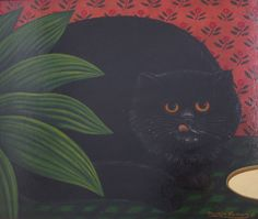 Martin Leman Painting ' Cat that got the Cream '