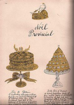 "Noel Provincial"" Illustrations: Andy Warhol Script: Julia Warhola Text: Susie Frankfurt Harper's Bazaar December 1959"